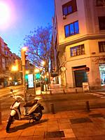 Narvaez street, night view. Madrid, Spain.