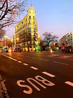 Alcala street at dusk. Madrid, Spain.