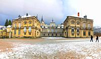 Royal Palace in winter, panoramic view. La Granja de San Ildefonso, Segovia province, Castilla Leon, Spain.