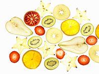 Bodegón de láminas de fruta.
