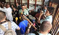 Cuba, Havana, La Bodeguita del Medio, musicians,.