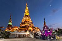 Jinghong, China - December 30, 2019: Big Golden Pagoda in Jinghong, Xishuangbanna, at dusk also called Dajin Pagoda.