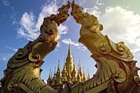 Gold Pagoda at the top of the Mengle Temple in Jinghong - Xishuangbanna capital in Yunnan, China.