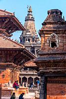 Kathmandu, Nepal - February 6 2020: Ancient temples at Patan Durbar Square, Nepal. A UNESCO World Heritage Site.