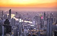 Thailand, Bangkok city, Downtown Panorama.