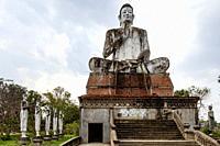 Giant Buddha Statue, Wat Ek Phnom Temple, Battambang, Cambodia.