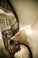 Spiral staircase in a family house.