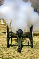 US Army 1880s artillery piece being fired at Fort Lowell in Tucson AZ.