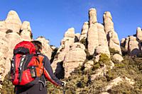 Les Agulles, Natural Park of Montserrat mountain, Barcelona, Spain.