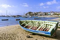 Fishing boat on the Beach at Praia de Bote and Porto Grande Bay, Mindelo, Sao Vicente, Cape Verde Islands, Africa.
