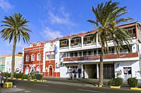 Colorful building facades on Praia Street, Mindelo, Sao Vicente, Cape Verde Islands, Africa.