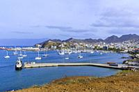 The City of Mindelo and Porto Grande Bay, Mindelo, Sao Vicente, Cape Verde Islands, Africa.