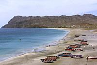 Boats on the Beach of Sao Pedro Village, Sao Vicente, Cape Verde Islands, Africa.