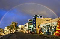 Rainbow on Ponta do Sol Village, Ribeira Grande Municipality, Santo Antao, Cape Verde Islands, Africa.