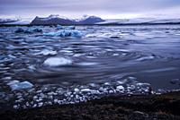 Movement of broken ice on Jokulsarlon lagoon, Jokulsarlon glacier, Iceland.