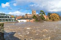 Left Bank restaurant seeing record levels of flood water recorded on the river Wye threatening property and lives, Hereford Herefordshire UK. February...