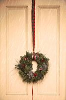 Wreath with Tartan Ribbon on Door.