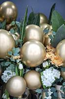 Gold Balloons and Flowers, Supplies for Event.