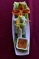 Fresh spring rolls in Cambodia,South East Asia.