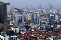 View over city of Phnom Penh from the Eclipse Sky Bar,Cambodia,South East Asia.