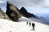 Mountaineers on the Ossoue Glacier, Central Pyrenees, France