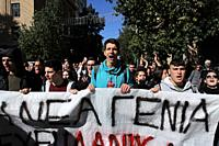 Greek high school students gather for a protest against the upcoming new education law from the Greek government