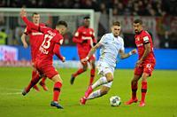 Leverkusen, Germany, 04.03.2020, DFB Cup, Bayer 04 Leverkusen - 1. FC Union Berlin, Lucas Alario (B04), Robert Andrich (Union), Kerem Demirbay (B04)  ...
