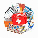 First aid kit with medical supplies and equipment, pills, drugs and fstethoscope. Health care, pharmacy and medicine concept. 3d illustration.