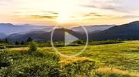 Sunset panorama with mountain crests at Zuflucht in the Northern Black Forest, Germany, viewpoint over the Rench valley not far from Black Forest High...