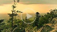 sunset of the Black Forest as time lapse, Germany, view over the Rhine Valley, panorama from the mountain ridge Omerskopf near Bühl