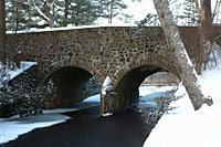 Rockwork bridge over Bass Brook, AW Stanley Park, New Britain, Connecticut.