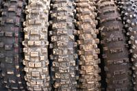Used off road motocross tires background .