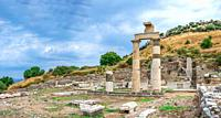 Prytaneion ruins near the State Agora in antique Ephesus city, Turkey, on a sunny summer day.