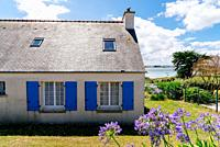 Traditional houses in the Island of Batz sunny day of summer.