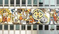 socialist realism mural at house of the teacher, hdl, haus des lehrers, berlin, germany.