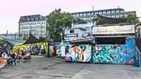 street scene at raw area (raw gelaende), alternative cultural venue, friedrichshain, berlin, germany.