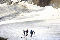 Mountaineers ascending the Vignemale glacier, in the French Pyrenees, France