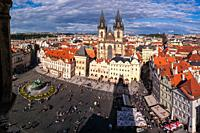 Panorama of the Old Town Square in Prague in the Czech Republic.