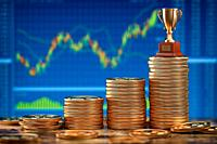 Stock market, investing or forex trading background. Stacks of golden coins with a cup. Concept of growth and success. 3d illustration.