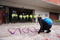 Women celebrate international women's day in Bogota city.