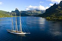 Sailing Boat in Cook's Bay, Moorea, French Polynesia.