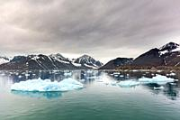 Ice floe in front of Monacobreen, glacier in Haakon VII Land which debouches into Liefdefjorden, Spitsbergen / Svalbard