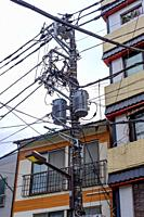 Typical orderly power and utility lines in Tokyo, Japan.
