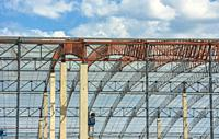 Steel framework of a warehouse under construction. Cape Town, South Africa.