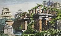 Hanging Gardens of Babylon. 19th Hand-coloured engraving.