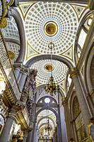 Basilica Ornate Colorful Ceiling Cathedral Puebla Mexico. Built in 15 to 1600s.
