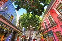 Major Shopping Street Stores Shoppers Zocalo Puebla Mexico.
