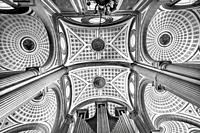 Black and White Basilica Ornate Ceiling Cathedral Puebla Mexico. Built in 15 to 1600s.
