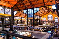 Interior view of the Central Hall Market in Budapest, Hungary.