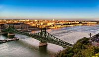 Chain Bridge over the Danube River in Budapest, Hungary.